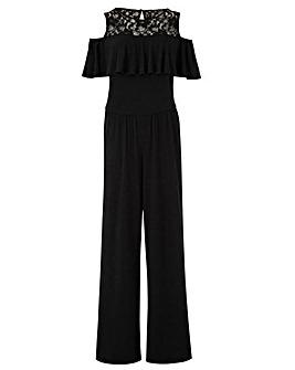 Black Ruffle Front Jumpsuit