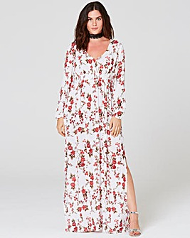 Multi Print Crinkle Deep V Maxi Dress