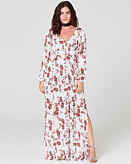 Multi Print Crinkle Deep V Maxi Dress