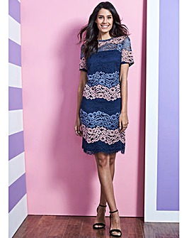 Blue/Pink Lace Shift Dress