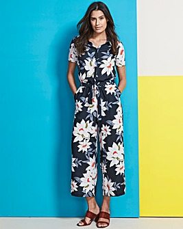 Printed Shirt Culotte Jumpsuit