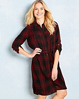 Red/Black Checked Shirt Dress