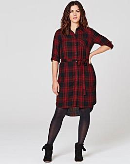 Red/Black Checked Shirt Dress