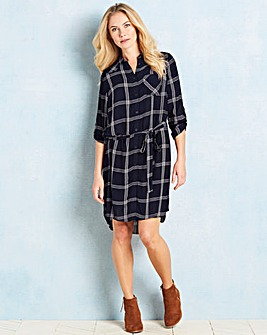 Navy/Ivory Checked Shirt Dress