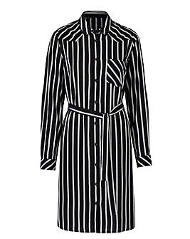 Black/Ivory Stripe Shirt Dress