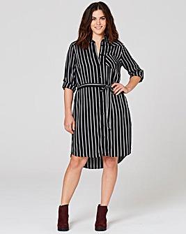 Black/Ivory Stripe Shirt Dress