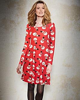 Snowman Christmas Print Swing Dress