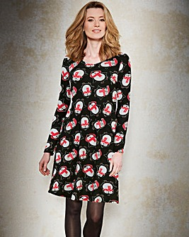 Penguin Christmas Print Swing Dress