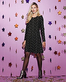 Star Christmas Print Swing Dress