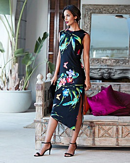 Tropical Print Shirred Bodycon Dress