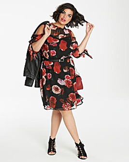 Black Print Floral Lace Trim Frill Dress
