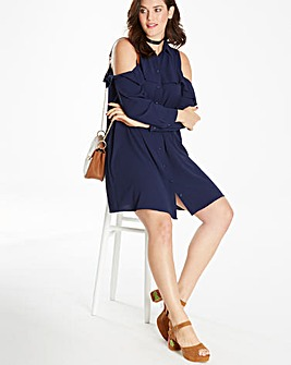 Frill Front Shirt Dress