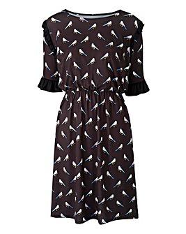 Black/ MultPrint Ruffle Detail Tea Dress