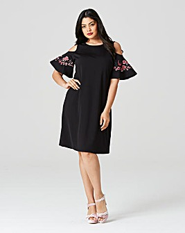 Embroidered Frill Sleeve Dress