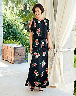 Black/Red Floral Split Sleeve Maxi Dress