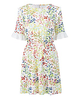 Ivory/MultiPrint Ruffle Detail Tea Dress