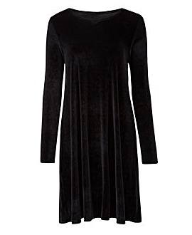 Black Velour Swing Dress