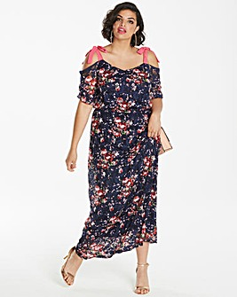 Printed Lace Cold Shoulder Maxi Dress