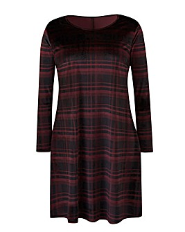 Black/Purple Check Velour Swing Dress