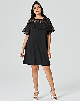 Lace Frill Shift Dress