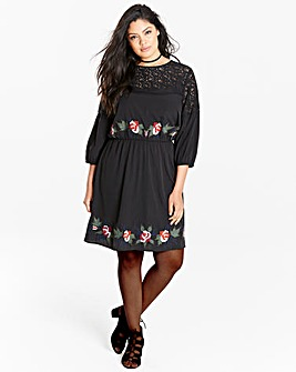 Embroidered Skater Dress