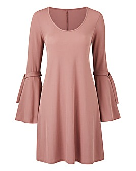 Tie Sleeve Rib Swing Dress