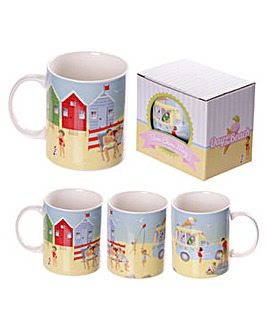 Bright Beach Scene Bone China Mug