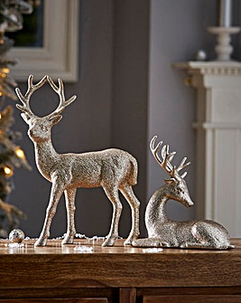 Set of Two Reindeer Ornaments