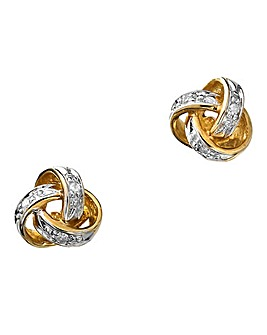 9 Carat Gold Diamond Knot Earrings
