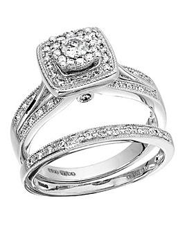 9ct Gold Diamond Cluster Bridal Ring Set