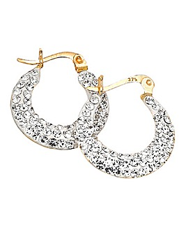 Crystal Glitz 9ct Gold Creole Earrings