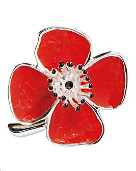 Silver Plated Poppy Brooch