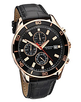 Sekonda Rose-gold Leather Strap Watch