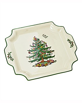 Spode Xmas Square Handled Platter