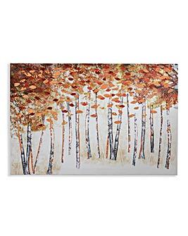 Autumn Trees with Copper Foil Canvas