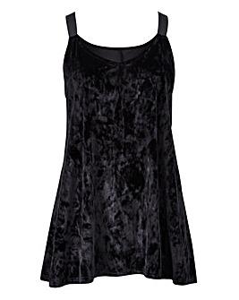 Black Contrast Strap Velour Cami