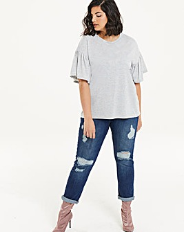Pearl Detail Ruffle Sleeve T-shirt