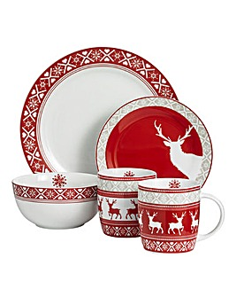 16pc Nordic Reindeer Dinner Set