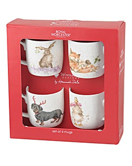 Wrendale 4pc Christmas Mug Set