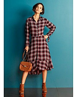 Check Midi Shirt Dress