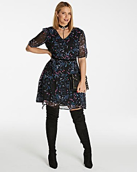 Black Printed Tea Dress