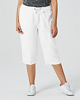 Crop Slouch Linen Mix Trousers Reg