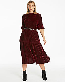 Velour Tiered Dress
