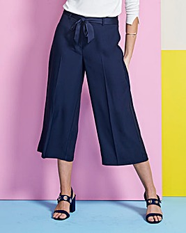 Crop Wide Leg Tie Waist Trouser Regular