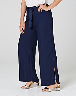 Wide Leg Crepe Tie Waist Trouser Regular