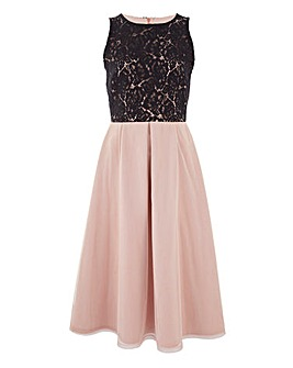 Lace Prom Dress with Mesh Skirt