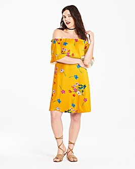 Frill Sleeve Bardot Dress