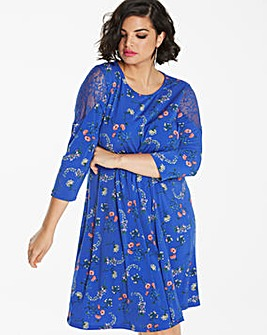 Blue Print Lace Detail Swing Dress
