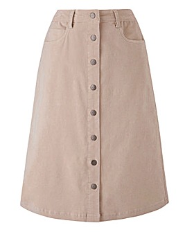 Petite Babycord Button Through Skirt