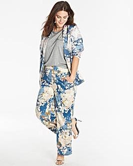 Floral Print Satin Wide Leg Trousers